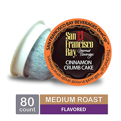 San Francisco Bay OneCup, Cinnamon Crumb Cake, Single Serve Coffee K-Cup Pods (80 Count) Keurig Compatible (Best Cinnamon Rolls San Francisco)