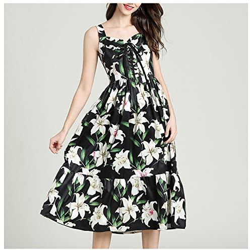 Ashley-OU Floral Print Spaghetti Strap Dress Drawstring Strapless Lilies Flower Cotton Sundresss,Picture Color,XL