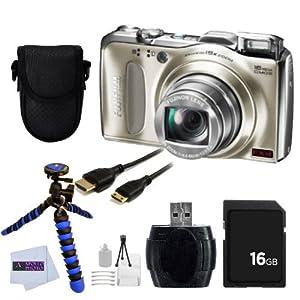 Fujifilm FinePixF550 F550EXR Digital Camera (Gold) + 7 Piece Accessory Bundle