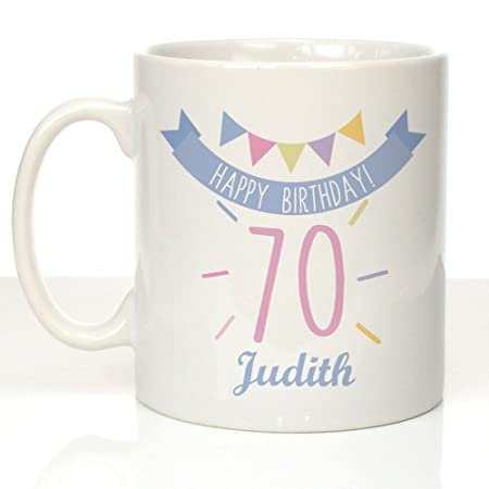 Personalised 70th Birthday Bunting Mug Female Gift Ideas 70 Gifts For Her
