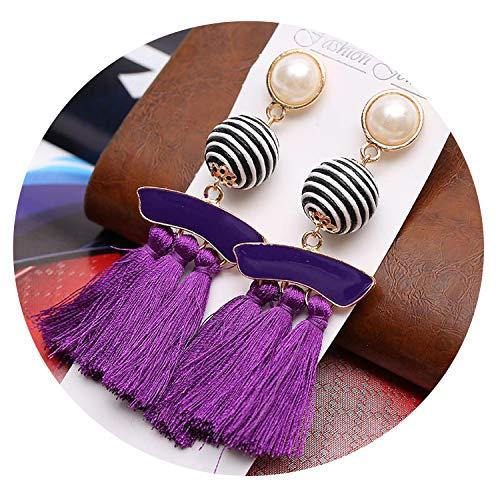 Statement Earrings Tassel for Women Fashion Geometry Long Fringe Hanging Drop Colorful Big Dangle Earrings Female ()