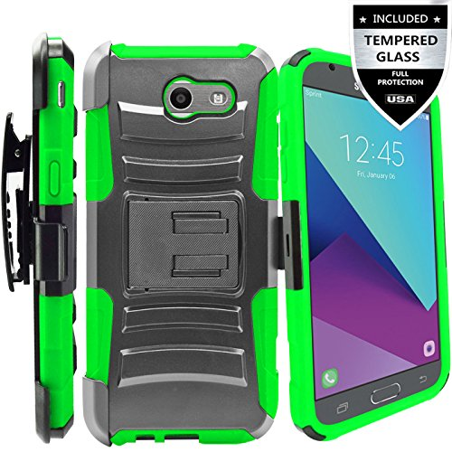 Galaxy J7 V Case/Galaxy J7 Perx Case/Galaxy J7 Sky Pro/J7 Prime/Galaxy Halo/J7 2017 Case With Tempered Glass Screen Protector,IDEA LINE(TM) Combo Holster Kickstand Belt Clip - Green