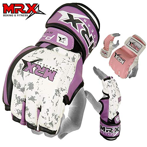 Cage Fighter Mma - MRX BOXING & FITNESS MMA Ladies Grappling Training Gloves Cage Women Fighting Sparring Gloves Purple (Medium)
