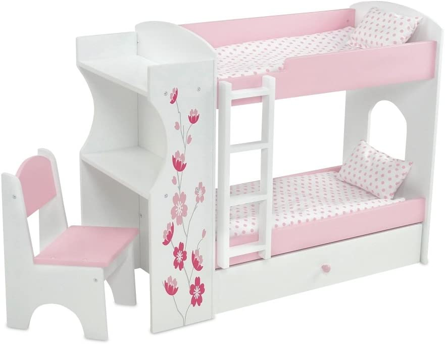 "Emily Rose 18 Inch Doll Bed Furniture for American Girl Dolls | Doll Bunk Bed & Desk Combo, Includes Doll Bedding | Fits 18"" American Girl Dolls"