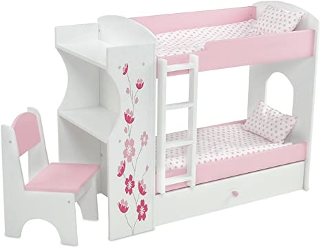 Amazon Com Emily Rose 18 Inch Doll Bed Furniture For American Girl Dolls Doll Bunk Bed Desk Combo Includes Doll Bedding Fits 18 American Girl Dolls Toys Games