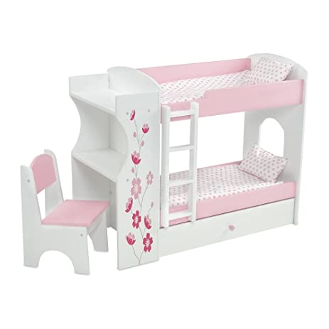 18 Inch Doll Furniture | Pink And White Bunk Bed U0026 Desk Combo With Gorgeous  Flower
