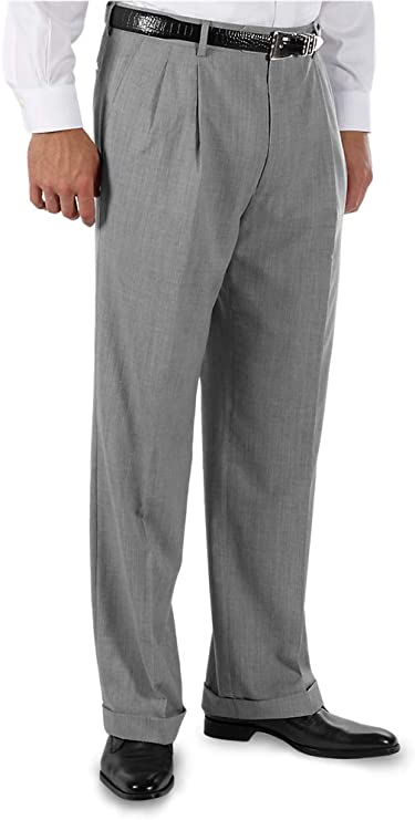 Men's Vintage Pants, Trousers, Jeans, Overalls Paul Fredrick Mens Tailored Fit Wool Gabardine Pleated Pant $77.50 AT vintagedancer.com