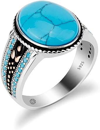 خواتم حجر الفيروز العتيقة الزرقاء للرجال والنساء - 925 فضة استرلينية وفيروز لمجوهرات الزفاف - خاتم خطوبة مع احجار زرقاء متعددة صغيرة (مقاس 7-12)