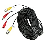 ZOSI 100 Feet 30m Video Power BNC RCA Cable for CCTV Security Cameras Black