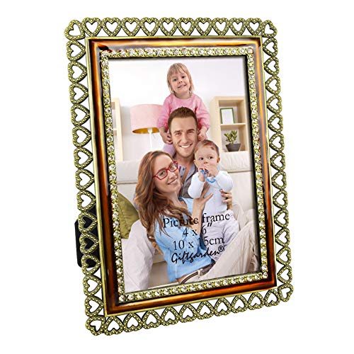 (Giftgarden 4x6 Picture Frame Vintage Metal Heart Photo Frame for 4x6 Inch Photograph Tabletop)
