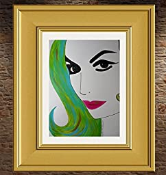 MARIA FELIX : HOLA BONITA :: Abstract POP Modern ART Style - Acrylic Painting on White Paper - SIZE:11\