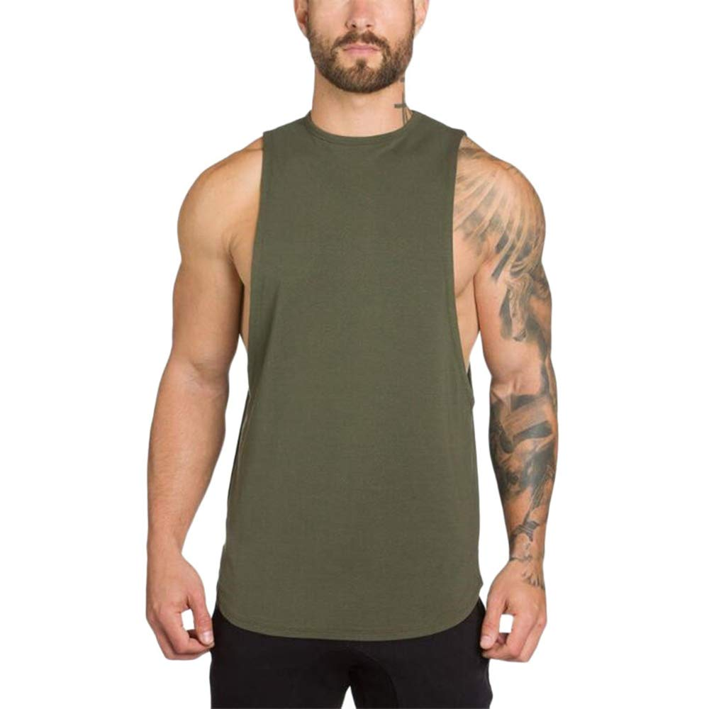 MODOQO Men's Tank Tops Fitness Sleeveless Cotton O-Neck T-Shirt Gym Vest(Army Green,M) by MODOQO (Image #1)