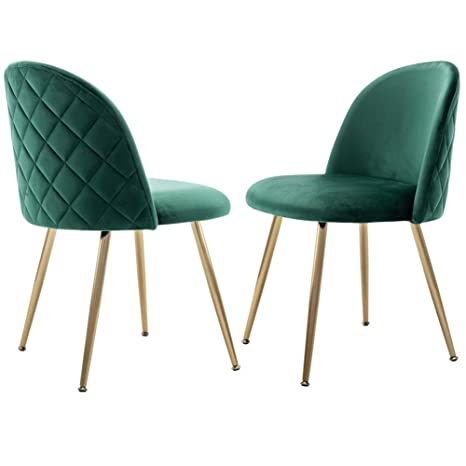 Incredible Velvet Dining Chairs Set Upholstered Side Chairs For Living Room Modern Accent Chairs With Gold Metal Legs Set Of 2 Green Chairs Dailytribune Chair Design For Home Dailytribuneorg