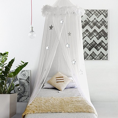 (Bobo & Bee Bed Canopy Mosquito Net Curtains with Feathers and Stars for Girls Toddlers and Teens, White)
