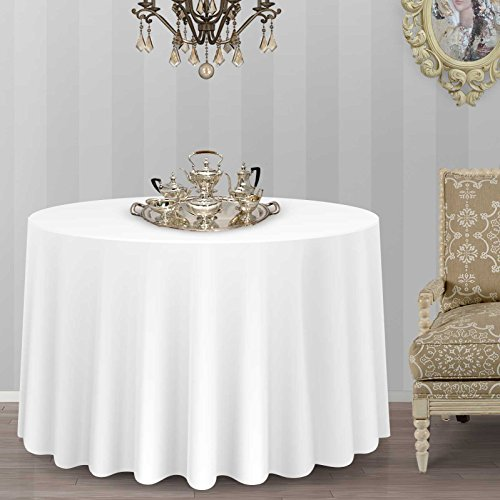 Lann's Linens - 20 Pack of 108'' Round White Polyester Tablecloth Covers for Weddings, Banquets, or Restaurants by Lanns Linens (Image #4)