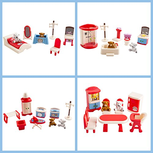 Bedroom, Kitchen, Bathroom, Laundry Room Bundle Colorful Dollhouse Furniture Play Set For (Kids Dollhouse Furniture)