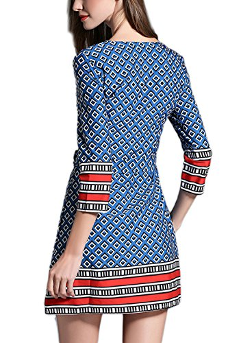 De la mujer media manga Mini cinturón una línea Casual de vestir