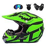 Motocross Helmet Adult, Off Road Motorcycle Helmet Set Unisex Full Face Crash Helmets Enduro Quad MTB Downhill ATV with Goggles Gloves Mask for Adult Youth Men Women, Green