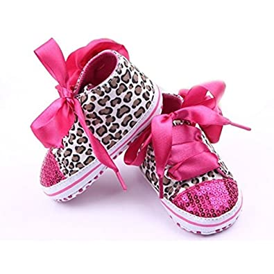 d508726f97bcb Girls Sneakers - SODIAL(R)New Infant Toddler Leopard Sequins Sneakers Baby  Girls Soft Sole Crib Shoes 3-6 Months 11cm rose red  Amazon.in  Shoes    Handbags