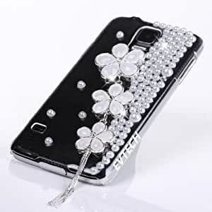 EVTECH (TM) 3D Diseño Rhinestone cubierta de la caja Clear Diamond cristalino hecho a mano flor de la perla (Samsung Galaxy i9600 S5)