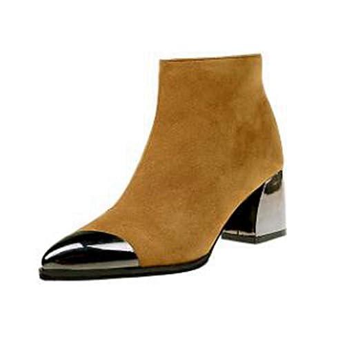 Botas de Mujer Botines Negros con Punta Estrecha Tacones Altos Ante Invierno Primavera Botas Cortas: Amazon.es: Zapatos y complementos
