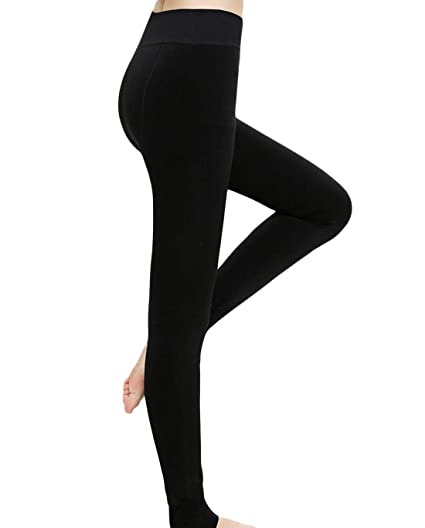 108ad488817c1 Romastory Women's Winter Warm Fleece Lined Tights High Waisted Elastic Leggings  Pants (Black),
