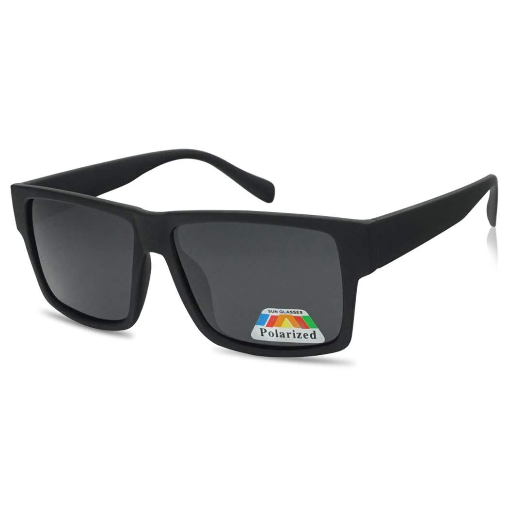 Square Flat Top Black Frame Polarized Sunglasses Casual Dark Lens Designer Inspired Glasses (Soft Black) by SunglassUP