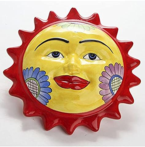 Ceramic Colorful Sun Face Hanging Wall Art Plaque for Indoors or Outdoors
