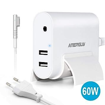 AMERIGUY Compatible Cargador MacBook Air, 45W Magsafe 2 Conector magnético de Punta T Adaptador de Corriente con 2 Puertos de Carga USB para MacBook ...
