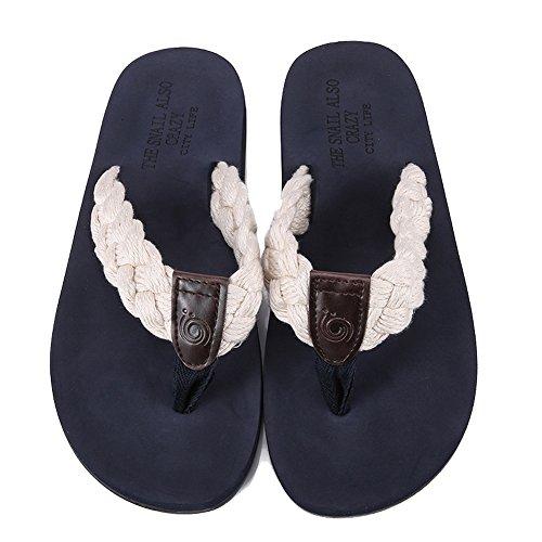 2017 Mens Handmade Beach Slipper Indoor and Outdoor Flip-flop Sandals Beige