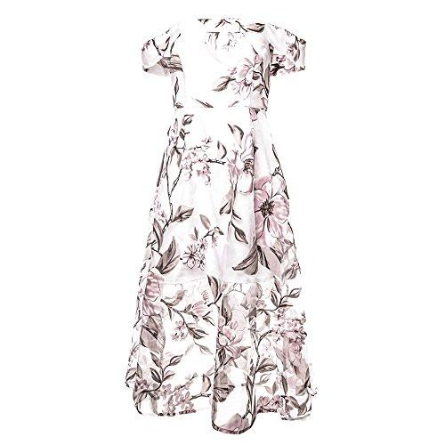 Manga Boda Sexy Mujer para Maxi Casual del Floral Playa Verano Elegante Cóctel la Fiesta de Impreso para Vestir Moda de Vestidos Prom Ceremonia Hombro de Largo Fuera Evening Rosado Vacación 0xRUwqR