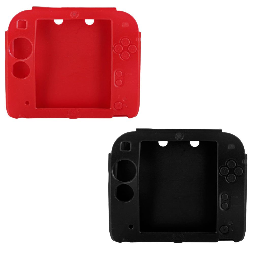 Lilyy 2Packs Protective Soft Silicone Rubber Gel Skin Case Cover for Nintendo 2DS (Black,Red)