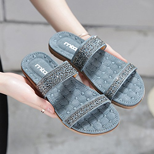 Slippers HAIZHEN Women shoes Spring And Summer Fashion Casual Sandals Beach Shoes Black/Blue for Women (Color : Blue, Size : EU36/UK4/CN36) Blue