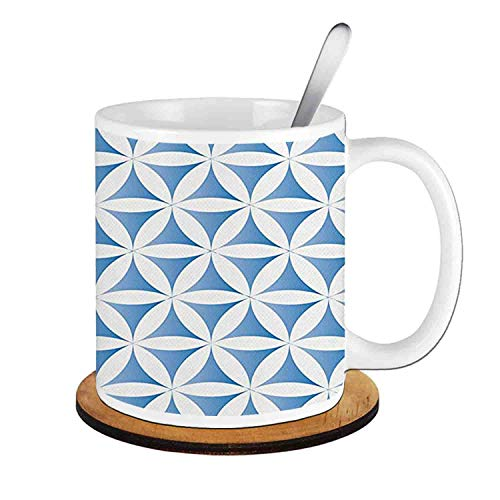 - Abstract Flower of Life Traditional Alchemy Disc Cosmos Meditation Ethnic Pattern,Light Blue White Ceramic Cup with Spoon & Round wooden coaster Creative Morning Mug Milk Coffee Tea Cup Mug 11oz