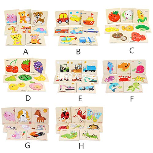8Pcs Wooden Animal Puzzle Toys,Educational Developmental Baby Kids Training Toy (Animal, Department, Transportation ,Vegetable ,Fruit ,Engineering, Vehicle, Underwater World ,Farm, Insect Series)