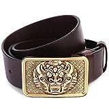 JIEJING Men's Leisure Belt,Brass buttons Decoration Belt retro Leisure Youth Belt-A 105cm(41inch)