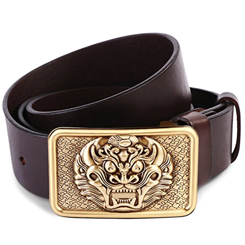 JIEJING Men's Leisure Belt,Brass buttons Decoration Belt retro Leisure Youth Belt-A 105cm(41inch) by JIEJING (Image #1)