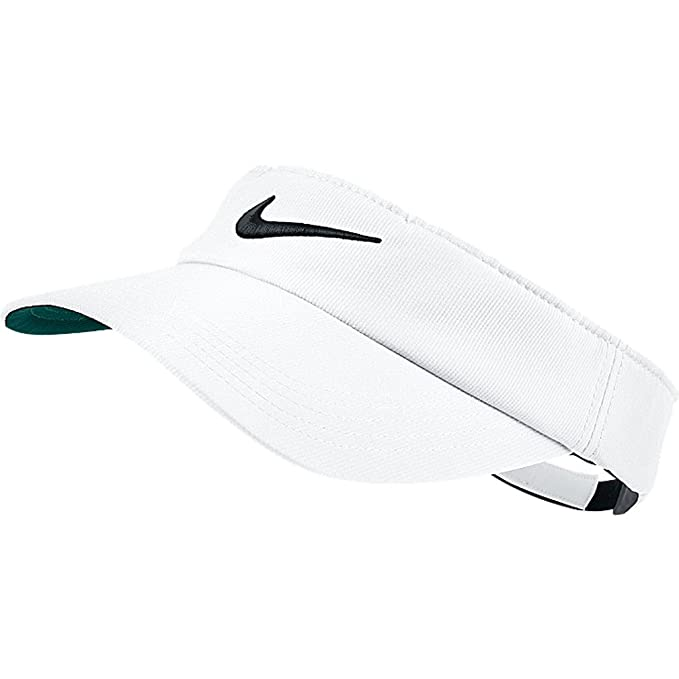 Amazon.com   Nike Tech Swoosh Visor WHITE   Golf Shirts   Clothing 3b901bd0bd1