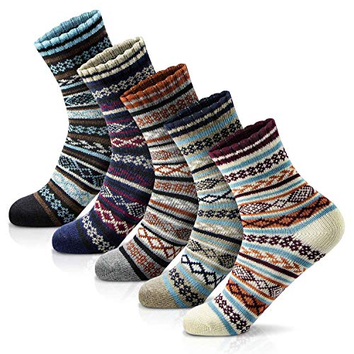 Women Winter Socks Christmas Gift Thick Vintage Style Knit Wool Casual Socks for Women Warm Soft Cute Colorful Pattern Socks Breathable Comfy Dress Socks 5 Pack with Gift Box (Size 5-9)