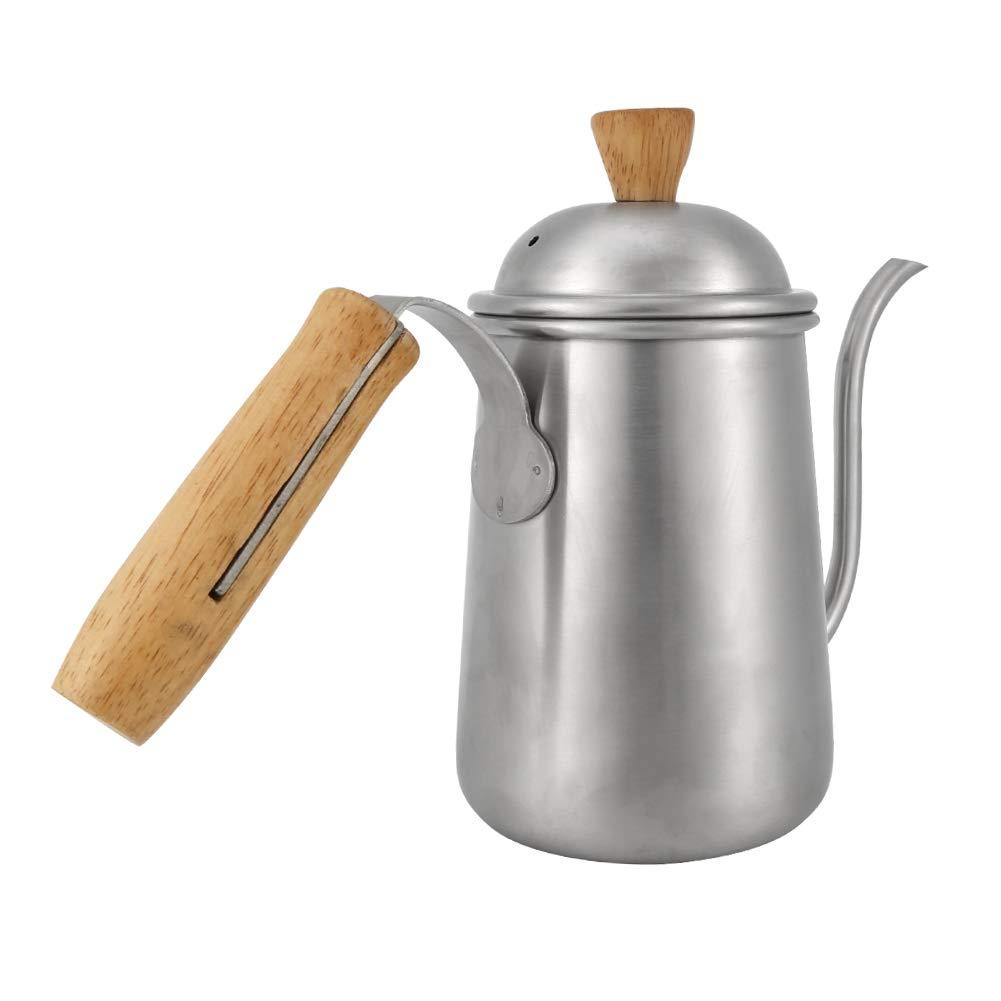 fosa 650ml Kitchen Stainless Steel Pour Coffee Drip Pot Kettle Long Over Gooseneck Spout & Vintage Heat resistent Wood Grain Handle Office, Home, Restaurant, Cafe