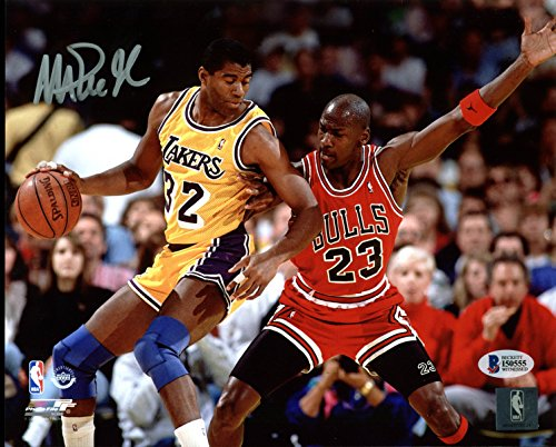 Lakers Magic Johnson Signed 8X10 Photo w/Michael Jordan BAS Witnessed 3