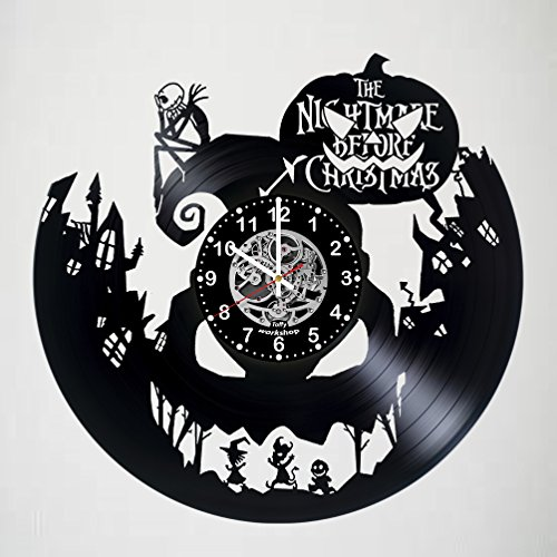 Nightmare before Christmas Vinyl Record Wall Clock - Exciting guestroom decor - perfect gift idea for children, adults, men and women - Jack and Sally - Horror Decorations Unique Art (Nightmare Before Christmas Wedding Decorations)