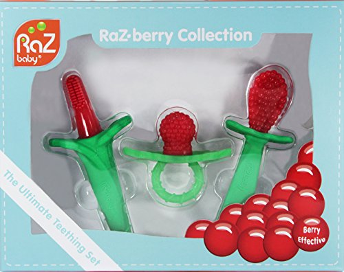 Razbaby Razberry Teether - RaZbaby RaZberry Collection 3pc Gift Set: RaZberry Silicone Teether, RaZberry Toothbrush & RaZberry Spoon