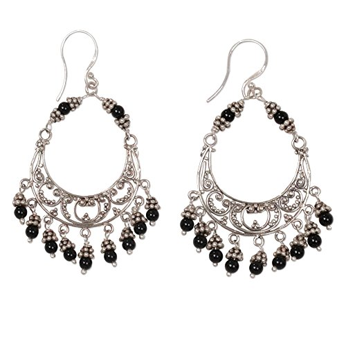 NOVICA Onyx .925 Sterling Silver Chandelier Earrings, 'Dark Crescent' Artisan Traditional Chandelier