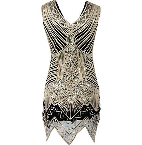 MEILI vintage A paillettes paillettes hand woven abito vestito donna rpSRwqrv