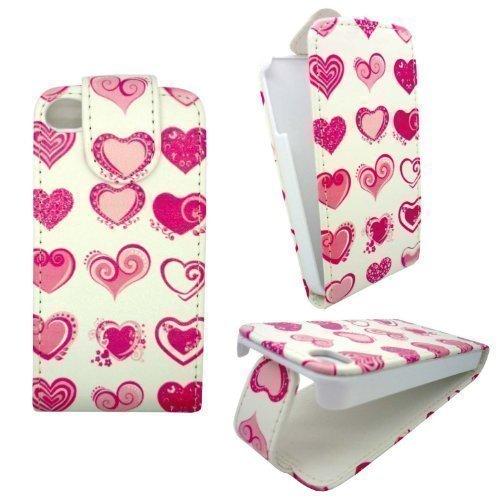 GADGET BOXX BLANC AFFAIRE AVEC DES COEURS ROSE CONCEPTION STYLE CASE Print Leather FLIP POCHETTE DE PROTECTION POUR APPLE IPHONE 4/4S