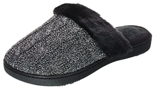 Isotoner Womens Lurex Cable Knit Fairisle Knit Erin Clog Black