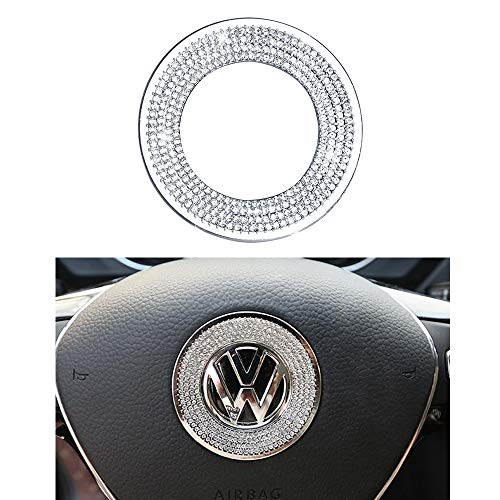 1797 Compatible Steering Wheel Logo Caps Decals Sticker for VW Volkswagen Accessories Parts Bling Jetta Passat Golf Tiguan Arteon Atlas Covers Interior Decoration Trim Women Men Crystal Silver