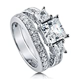 BERRICLE Rhodium Plated Sterling Silver Cubic Zirconia CZ 3-Stone Engagement Ring Set Size 6.5