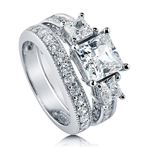 BERRICLE Rhodium Plated Sterling Silver Princess Cut Cubic Zirconia CZ 3-Stone Anniversary Engagement Wedding Ring Set 3.58 CTW Size 6 (Engagement Stone 3 Ring Wedding)